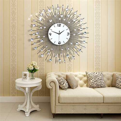 New Luxury Scenic Iron Art Metal Living Room Round Diamond Wall Clock Home Decor