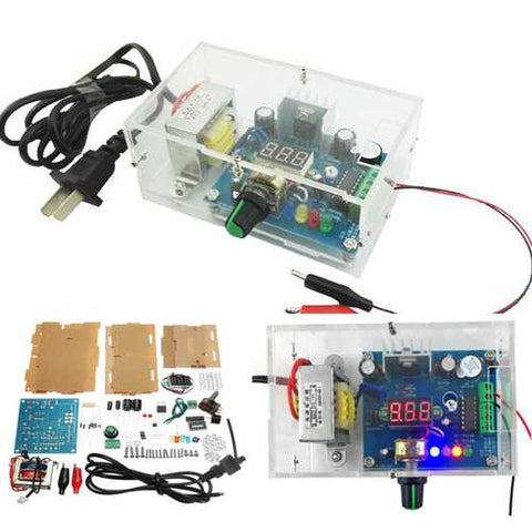 DIY AC 220V to DC 1.25V-12V LM317 Adjustable Power Supply Module Kit With Housing