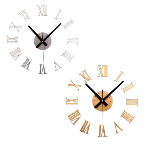 DIY Large Wall Clock Mirror Surface Sticker Modern Style Home Decoration Design
