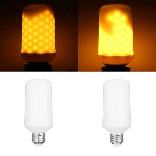 E27 7.5W SMD2835 96LEDs Yellow 1800-2000K General LightingThree Modes Flame Light Bulb AC90-265V