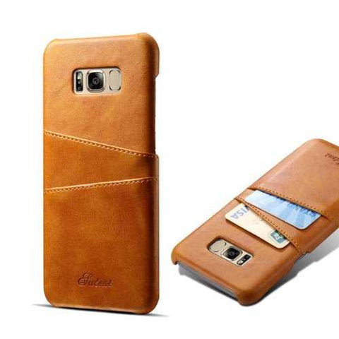 Premium Cowhide Leather Card Slot Protective Case For Samsung Galaxy S8