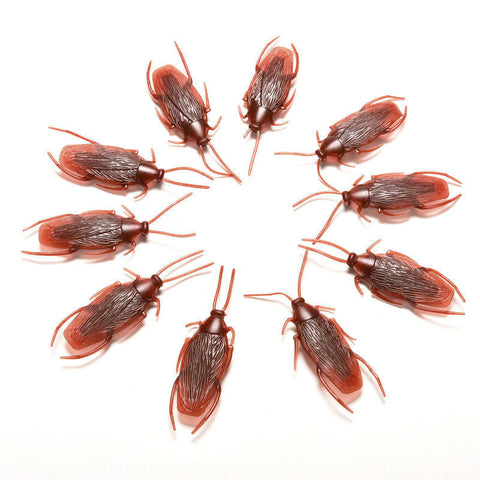 10pcs Prank Funny Trick Joke Toys Lifelike Model Simulation Fake Cockroach Toys Kids Children Props