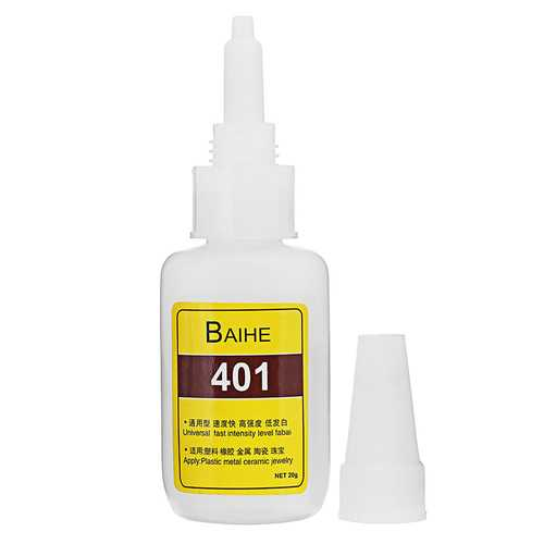 BAIHERE 401 High Strength Quick Drying Glue Instant Strong Adhesive High Temperature Low Bloom 20g