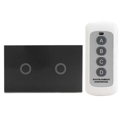 1 Way 2 Gang Crystal Glass Remote Panel Touch LED Light Switch Controller With Remote Control