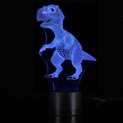 3D Night Light 7 Color Change Dinosaur Acrylic Desk Lamp Bluetooth Speakers