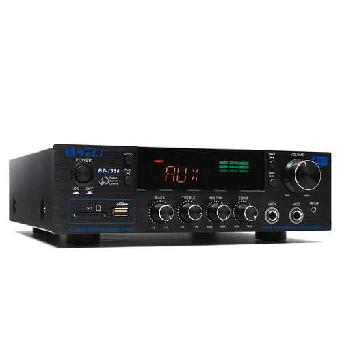 TELI BT-1388 HiFi bluetooth Power Amplifier Stereo Audio Karaoke FM Receiver USB SD