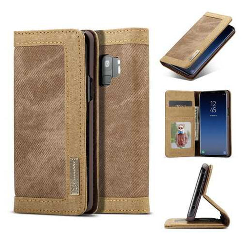 Caseme Canvas Magnetic Flip Bracket Wallet Protective Case For Samsung Galaxy S9