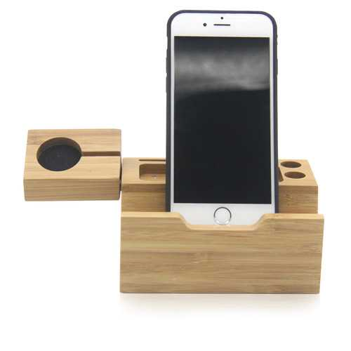 Natural Bamboo USB Charging Dock Stand Holder Bracket for Mobile Phone Smart Watch