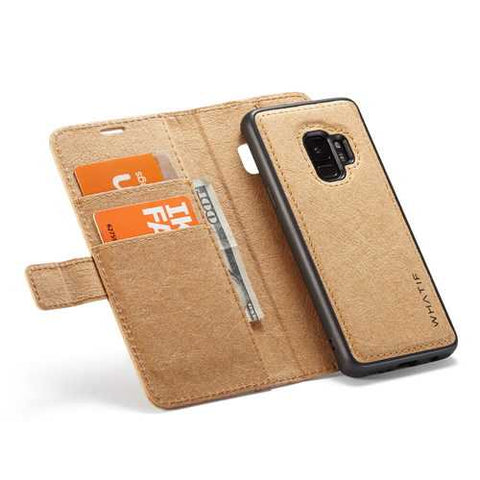 WHATIF Protective Case For Samsung Galaxy S9 Waterproof Kraft Paper Magnetic Detachable Wallet