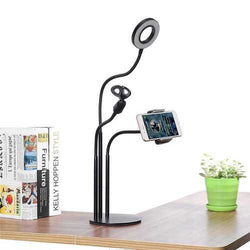 Universal Live Stream Fill Light Desktop Phone Holder Microphone Stand for Xiaomi Mobile Phone