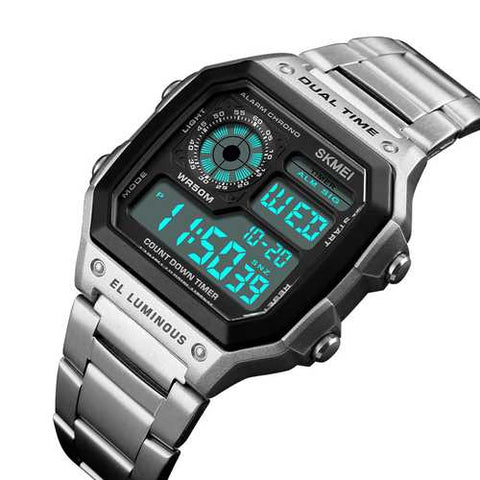 SKMEI 1335 Fashion Chronograph Stainless Steel Digital Watch