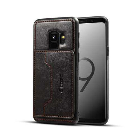 2 in 1 PU Leather Card Slot Bracket Protective Case for Samsung Galaxy S9