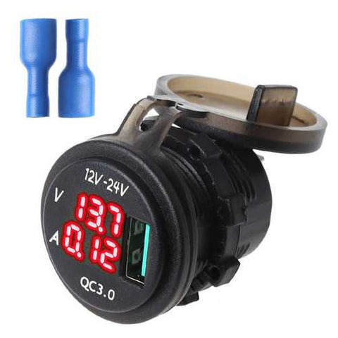 12V/24V QC 3.0 LED USB Charger Socket Voltmeter Current Display For Boat Motorcycle