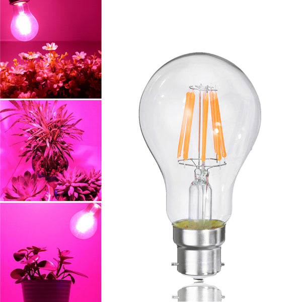 8W A60 E27 B22 COB Non-Dimmable LED Plant Grow Light Bulb for Hydroponics Greenhouse AC85-265V