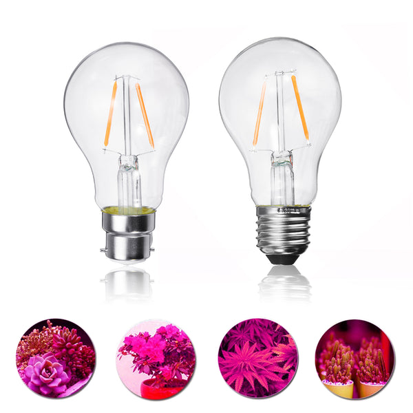 2W E27 B22 A60 LED Plant Grow Light Bulb for Hydroponics Greenhouse Non-Dimmable AC85-265V