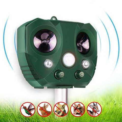 KCASA Garden Solar Ultrasonic Animal Repeller Motion Sensor Activated Owl Shape Waterproof Pest Controller Repellent
