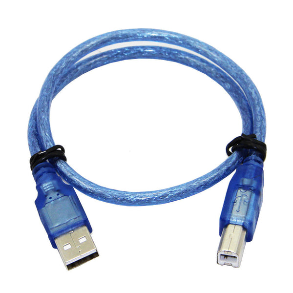 30CM Blue USB 2.0 Type A Male to Type B Male Power Data Transmission Cable For UNO R3 MEGA 2560
