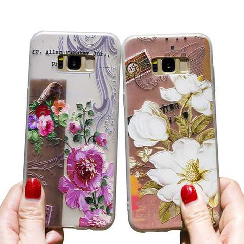 Bakeey 3D Relief Printing Flower & Birds Soft Protective Case for Samsung Galaxy S8