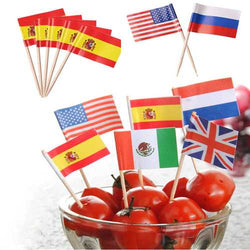 Honana 50 Pcs/Lot Mini Flag Fruit Toothpick Paper Flag Food Picks Cake Toothpicks Cupcake Fruit Sticks World-Cup Party Christmas Decoration