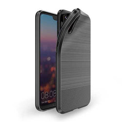 DUX DUCIS Wiredrawing Texture Metal Plate Soft TPU Protective Case For Huawei P20