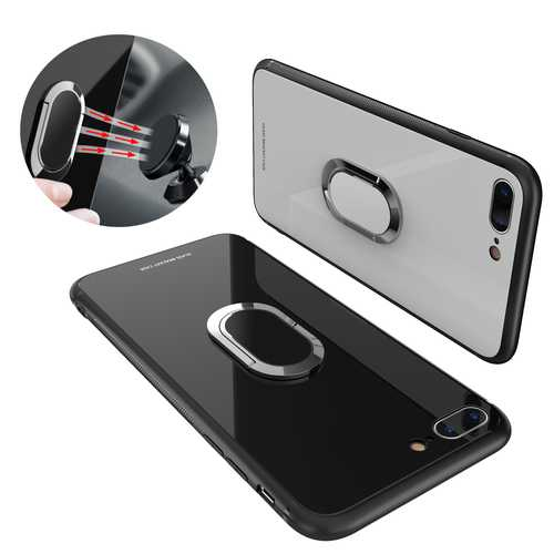 Bakeey 360? Rotation Ring Kickstand Magnetic Glass Protective Case for iPhone 7/7 Plus/8/8 Plus