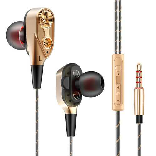 QKZ CK8 Wired Dual Moving Coil Heavy Bass Stereo In-ear Earphone with Microphone Line Control