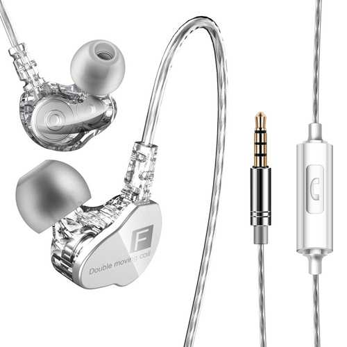 QKZ CK9 3.5mm In-Ear Dual Moving Coil Earbuds HiFi Earphone With Microphone