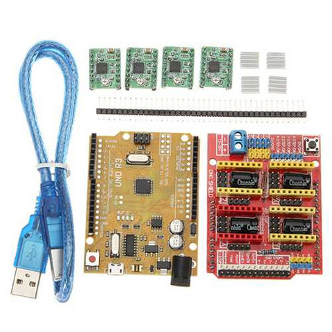 2Pcs CNC Shield V3 Expansion Board + UNO R3 Board Kit With A4988 Step Motor Driver Module For Arduin
