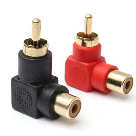 2Pcs 90 Degree Bend Right Angle RCA Male to Female Audio Connector Adapter