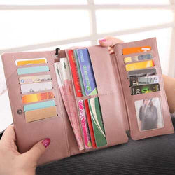 Women PU Leather Wallet Zipper Purse Credit Card Clutch Holder Phone Bag