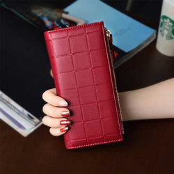 Women Fashion PU Leather Zipper Pouch Long Wallet for Samsung Xiaomi Mobile Phone Under 5.5 Inch