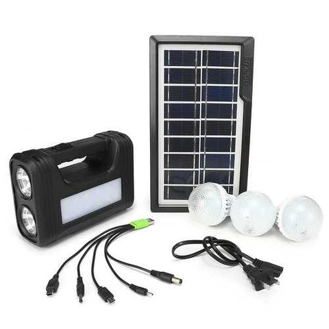 AC 110V-240V Solar Panel Power Generator LED Light Lamp USB Charger Home Outdoor System Kit
