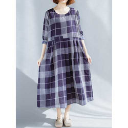 Plus Size Vintage Plaid Patchwork Long Sleeve Casual Dress