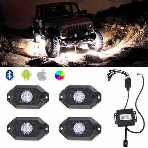 Waterproof Wireless Bluetooth Music LED RGB Off-road Rock Light Accent Car SUV Truck Rc Parts