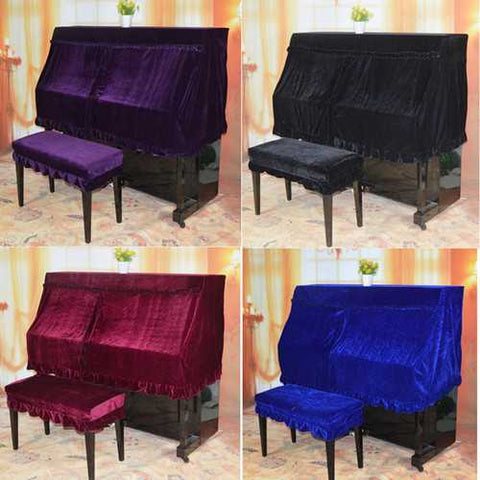 4 Colors Piano Half Cover Elegant Pleuche Protector + Double Piano Stool Cover