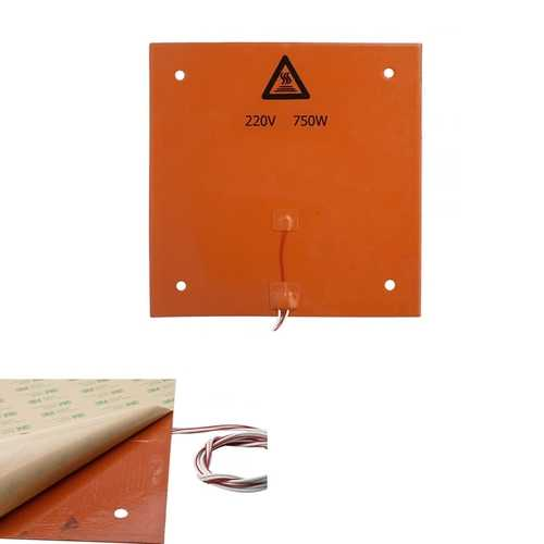 310*310mm 220V 750W Silicone Heated Bed Heating Pad With 3M Backing Glue For 3D Printer CR-10
