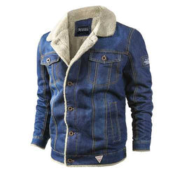 Mens Thick Warm Fleece Turn Down Collar Winter Denim Jacket