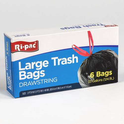 Case of [24] 33 Gallon Drawstring Trash Bags - 6 Count