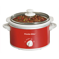 Proctor Silex Portable Oval Slow Cooker, 1.5-Quart- Red