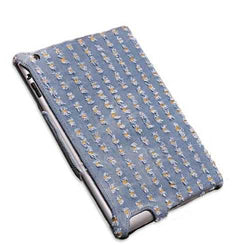 Denim Fabric Microfiber Embossing Heat Styling Skin Case For iPad 2 3
