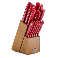 Oster Evansville 14 Piece Stainless Steel Cutlery Set with Red Handles