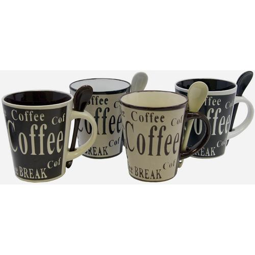 Gibson Bareggio 8pc Coffee with Spoon Set , 4 Designs (Mr. Coffee)