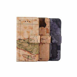 Worldwide Map Card Slot Bracket Case For iPhone 6 6s