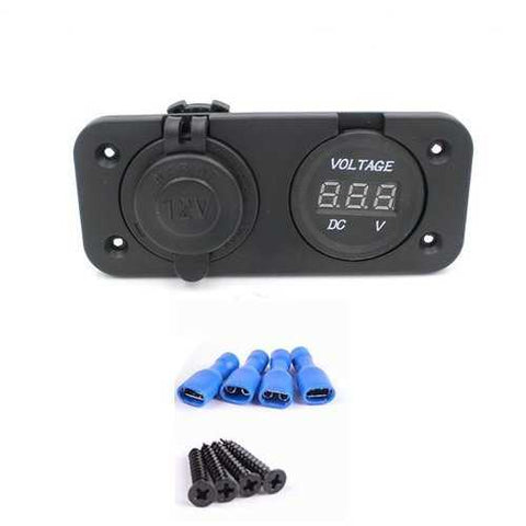 Motorcycle Ignitor Power Socket With DC 12V Digital Voltmeter