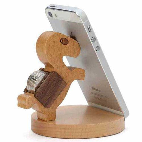 Lovely Wooden Horse Coin Can Phone Stand Holder For Cell Phone