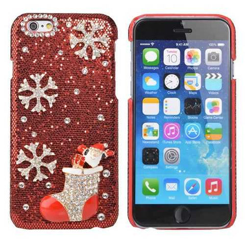 Luxury Crystal Handmade Bling Christmas Stockings Case For iPhone 6