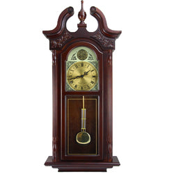 "Bedford Clock Collection 38""Grand Antique Colonial Chiming Wall Clock with Roman Numerals in a Cherry Oak Finish"
