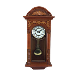 "Bedford Clock Collection 27.5"" Antique Chiming Wall Clock with Roman Numerals in a  Padauk Oak Finish"