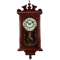 Bedford Collection 25 Inch Wall Clock with Pendulum and Chime in Dark Redwood Oak Finish