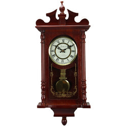"Bedford Collection Redwood Finish 25"" Wall Clock with Pendulum and Chime"